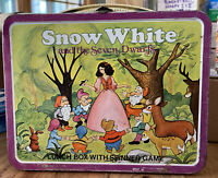 Vintage 1980 Snow White and the Seven Dwarfs metal lunch box with Spinner