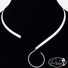 Silver Choker Necklace Collar S Hook Swirl Loop 5mm  Neck Wire(CS3)