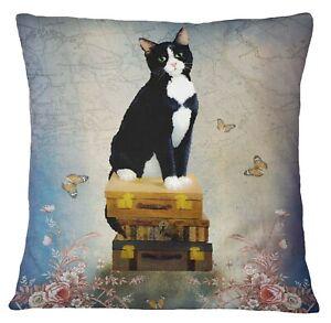 Timingila Blue Cushion Cover Suitcase| Floral & Cat Animal Decorative-6tX