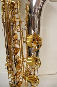 Profesional Barítono Saxofón Plateado Oro Saxo Bajo Un Boquilla Estuche