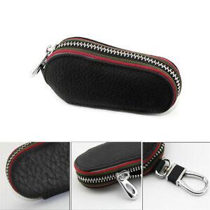 1Pcs Auto Car Key Bag Keychains Remote Control Cover Black Leather High Quality
