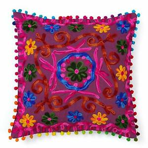 Decorative Pillow Cover Suzani Cushion Cover Handmade Embroidered With Pom pom
