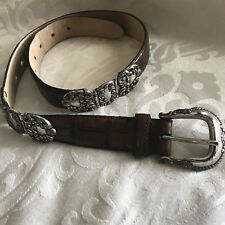 FOSSIL Brown Crocodile Embossed Cowhide Leather Western Belt Size Small