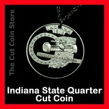 Indy 500 Indiana Hoosier State 25¢ IN Quarter Cut Coin Necklace Auto Racing