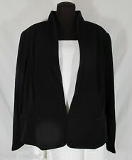 Eileen Fisher Black Jacket Blazer Leather Trim Lined Plus 3X NWT