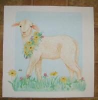 SHEEP ANIMAL REALISM PURPLE CLOVER DAISY FLOWERS BUMBLE BEE GARDEN W/C PAINTING
