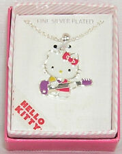 Hello Kitty Necklace Silver Plated Guitar Christmas Gift Free Usa Shipping Nib