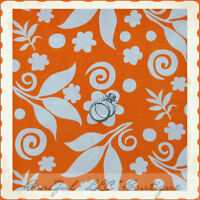 BonEful Fabric FQ Cotton Quilt Orange White Bright Flower Leaf Dot Swirl Scroll