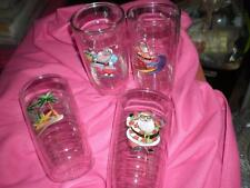 RARE FOUR NEW CHRISTMAS TROPICAL SANTA 16oz TERVIS TUMBLERS HOLIDAY PARTY