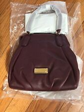 New Marc by Marc Jacobs New Q Fran Leather Satchel Handbag Dark Wine