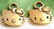 Free Ship 30Pcs Antique Gold lovely Cat Charms Pendants 13x11mm