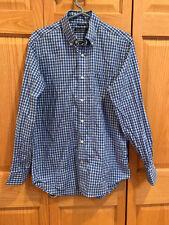 Nautica Men's Small L/S Shirt Blue Checkered Cotton
