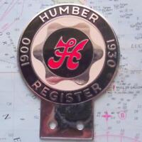 Superb Vintage Car Mascot Enamel Badge : Humber Register 1900 1930
