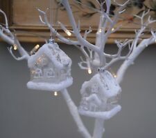 2 GLASS Christmas tree decorations baubles winter COTTAGE House Snowy wonderland