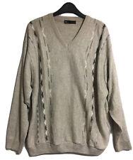 BHS Early 2000s Men's Jumper Sweater Knitwear Geometric Grunge Drop Shoulders L