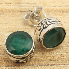 Plated Factory Direct Art Jewelry Simulated Emerald Stud Earrings, Silver
