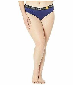 Calvin Klein Women's Plus 1981 Bold Cotton Thong QF5653 2X Purple Night NWT