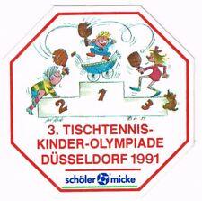 Aufkleber 3. Tischtennis-Kinder-Olympiade Düsseldorf 1991