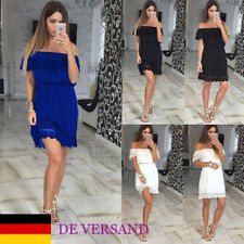 DE Damen Off Shoulder Spitzen Sexy Ballkleid Slim Cocktailkleid Mode Strandkleid