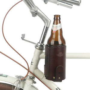 Tourbon Cowhide Brown Leather Bike Accessories Cup Holder for Coffee, Beer etc