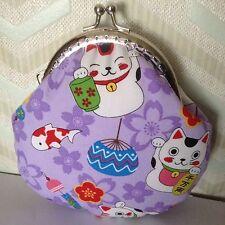 """Lucky cats """"maneki Neko"""" Handmade Kiss Lock Coin Purse"""