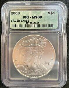 2000 $1 AMERICAN SILVER EAGLE S$1 ICG MS 69 146