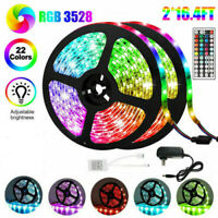 10M 32FT 3528 SMD RGB 600LEDs LED Light Strip+44Key Remote Control+12V US Power