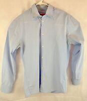 HUGO BOSS Men's Dress Shirt Light Blue/White Stripes 16-41 Long Sleeve Button Up