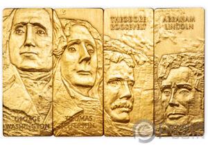 MOUNT RUSHMORE NATIONAL MEMORIAL Placcato 4x1 Oz Silver Coin 5$ Barbados 2021