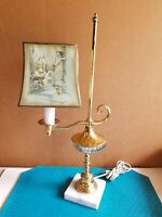 """Vintage 20"""" Brass & Pressed Glass w/ White Italian Marble, 1-Arm Lamp w/Shade"""