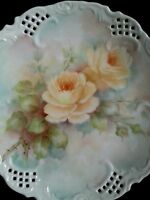 Vintage porcelain scalloped hand painted dish Yellow Roses artist signed