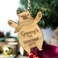 Personalised Babys First Christmas Tree Bauble Decoration Wooden Bear Shape Oak