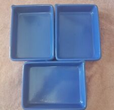 """New listing 3 Vintage Blue Porcelain Photograph Developer Trays 8"""" x 6"""" x 1 12"""" with Spout"""