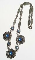Antique Art Deco Floral Bar LInk Shades of Blue Glass Stones Flower Bib Necklace