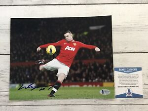 Wayne Rooney Signed Autographed Manchester United 8x10 Photo Beckett BAS COA a
