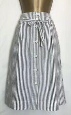 Next Ivory Striped Linen Blend Pocket Skirt Size 8 - 22  (n-57h)