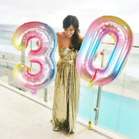 Kids birthday Number  Digital foil Helium balloons gradient Wedding Party Deco -