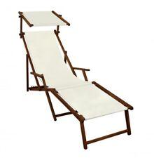 Transat pour Jardin Blanc Chaise Longue Partie de Pied Toit Pare-Soleil 10-303 F