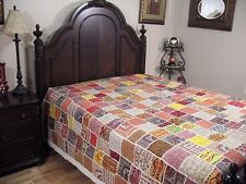 Multicolor Embroidered Patchwork Indian Bedspread Ethnic Huge Tapestry ~ 106""