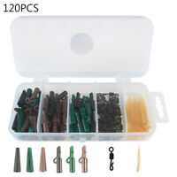 120pcs/set Carp Fishing Tackle Box Safety Clip Quick Change Swivels Lead Sleeves