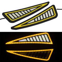 2 Pcs Car Universal DRL LED Daytime Running Light Rear Bumper Strip White/Amber
