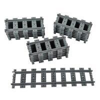 10pcs Straight/Curved Trains Rail Compatible Lego Train Tracks Railroad Railcars