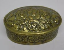 More details for vintage/antique yellow metal snuff box with floral detail.