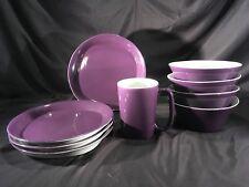 VHTF 9 Pc LOT SET EUC Rachel Ray PURPLE Round Square Salad Plates Bowls Mug