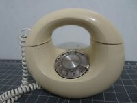 Vintage Bell Rotary Dial Yellow Telephone Space-Age Oval MCM Tested