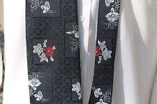 """Vintage Clark's Black Red White Floral Pattern Necktie 54"""""""