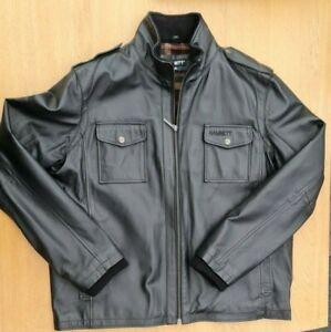 Men's Hamnett Genuine Black Leather Jacket Wool Lined Size XXL