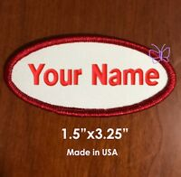 "Custom Embroidered  Name Tag Patch Motorcycle Badge 1.5""x3.25"" Oval"