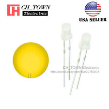 100pcs 3mm Diffused White Color Yellow Light Round Top LED Emitting Diodes USA