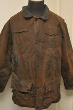 SUPER BARBOUR A1551 BUSHMAN WAX COTTON JACKET BROWN MEDIUM *LEATHER COLLAR*